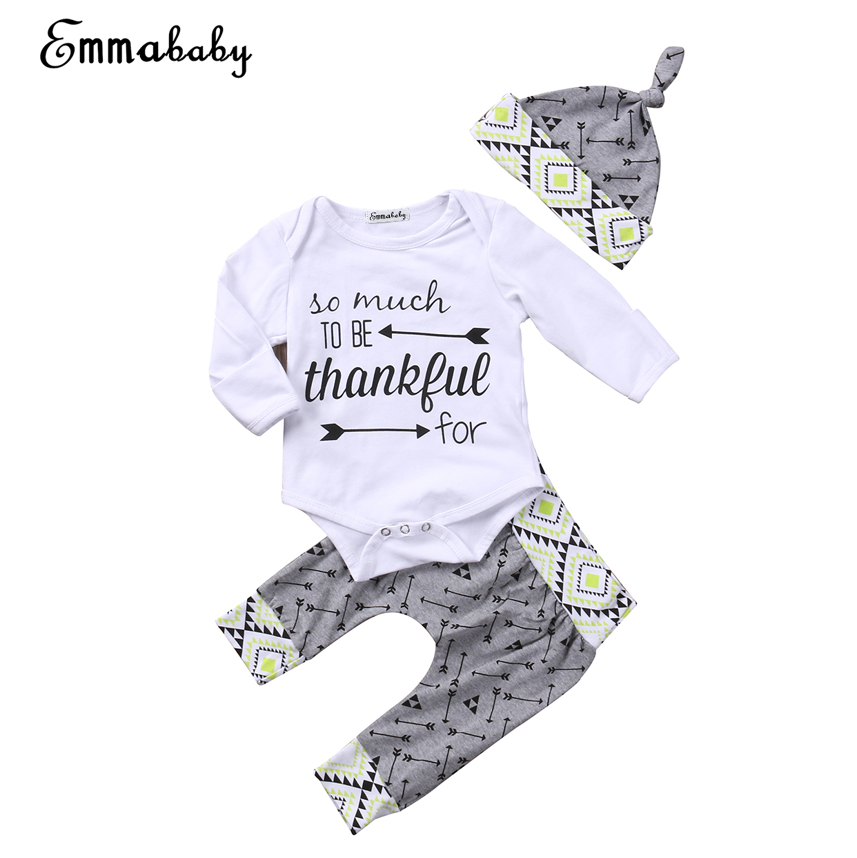 2018 new casual kid clothes set Newborn Baby Boy Girls long sleeve Tops bodysuit Pants 3Pcs cute kid Outfits Set Clothes 0-24M