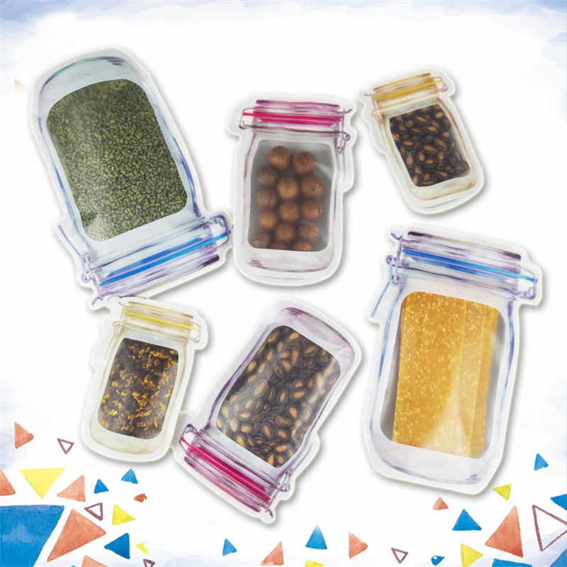Mason Reusable Jar bags Nuts Candy Cookies Craft Bags Food Storage Bag Snacks Zipper Sealed Ziplock Organizer For Candy