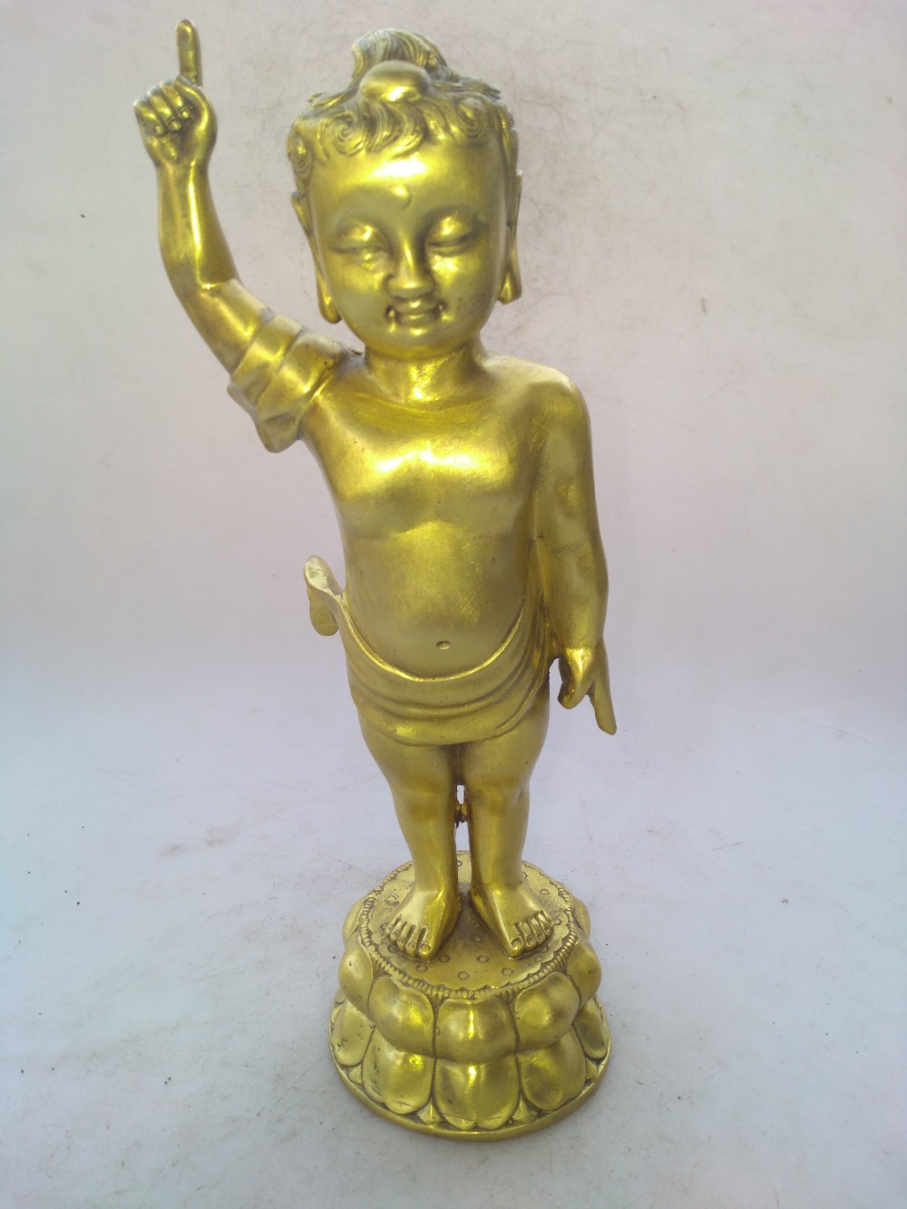 Chinese hand carved brass boy Buddha sculpture art collectionChinese hand carved brass boy Buddha sculpture art collection