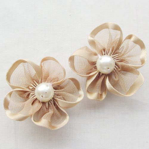 20pcs brown color 35mm Ribbon Flowers with Pearl Appliques Craft DIY Wedding Decoration A0531
