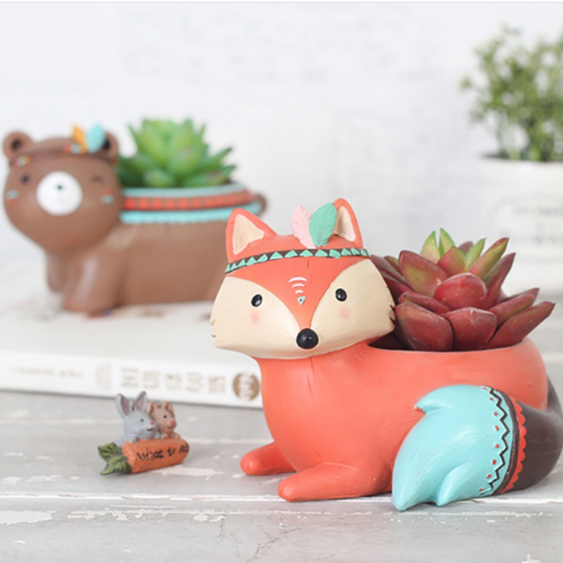 Cute Animal Planters Japanese Kawaii Style Succulents Flower Pot Mini Bonsai Desktop Office Nursery Pots Container