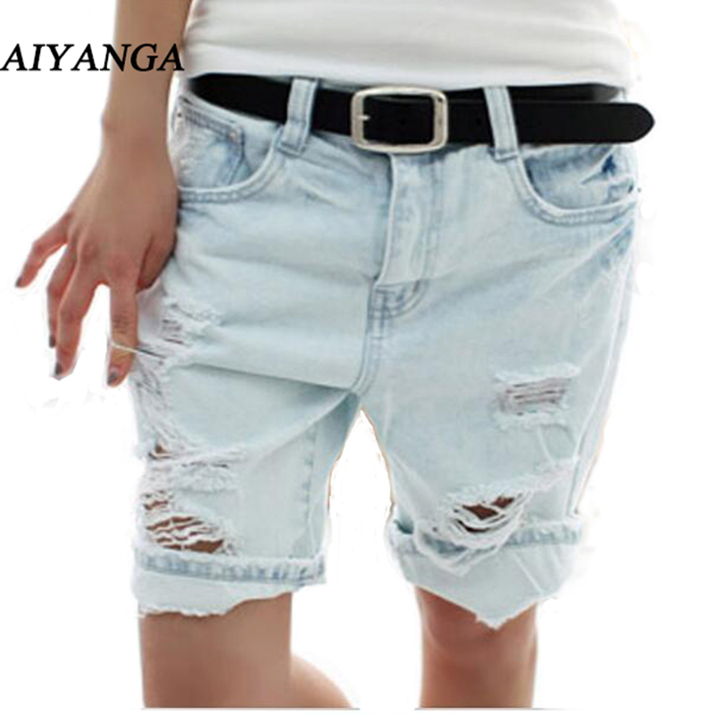AIYANGA Shorts Women 2017 Fashion Dog Embroidery Pocket Ladies Jeans Vintage Trousers Women Hole Denim Short Pants S/M/L/XL цена