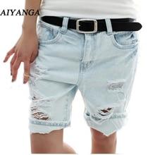 Aiyanga шорты женские Мода 2017 г. Собака Вышивка карманные дамы джинсы винтажные Брюки Женщины отверстия Джинсовые укороченные брюки S/M/L/ XL(China (Mainland))