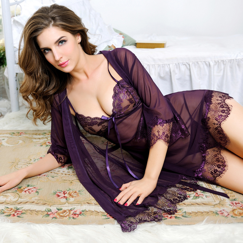 Sexy Lingerie robe set For Women Sexy underwear Ladies Lace Transparent Lingerie Nightgown Night Dress bathrobe three pieces