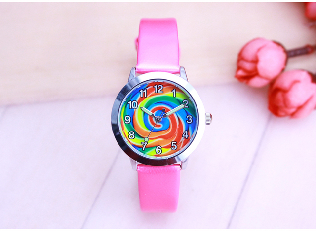 2018 Fashion Cartoon Watch colours of the rainbow Children Watches Kids Student