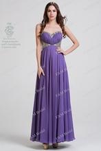 100% echt Fotos Lila 2016 Schatz Brautkleider A-line Chiffon Formale Abendkleider Bodenlangen vestidos de fiesta