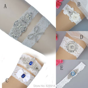 Luxury White Lace Wedding Garter Bridal Garter Handmade With Pearl Beads and Clear Rhinestones HY0023