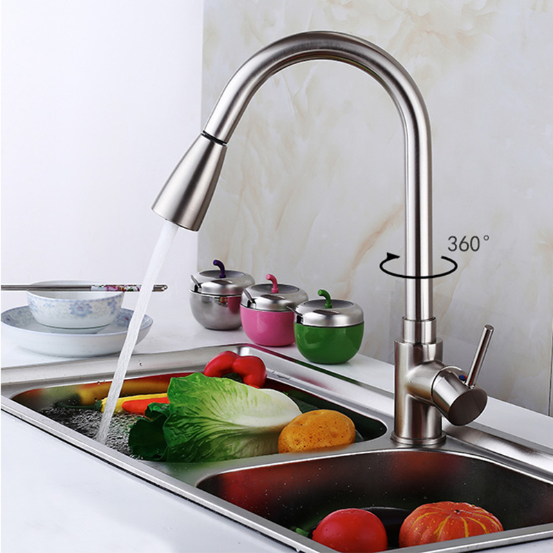 Single Handle Kitchen Sink Faucet, Square Modern Stainless Steel Kitchen Bar Faucet Hot and Cold Mixer Tap  360 Degree SwivelSingle Handle Kitchen Sink Faucet, Square Modern Stainless Steel Kitchen Bar Faucet Hot and Cold Mixer Tap  360 Degree Swivel