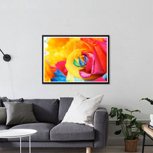 DIY Diamond Painting Colorful Rose Flower Cross Stitch Pattern Circular Rhinestone Home Decoration