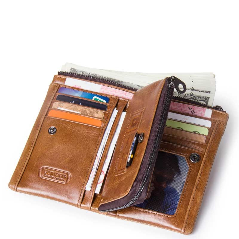 New Retro luxury Genuine Leather Men Wallet Small Men Wallet Zipper Male Short Coin Purse Brand High Quality in Wallets from Luggage Bags