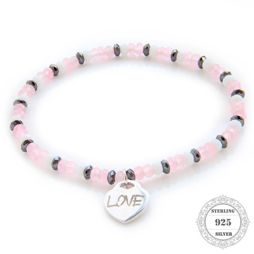 HEMISTON 925 Pink Rose Quartz korálek náramek s 925 Sterling Silver Love srdce kouzlo pro ženy jemné šperky dárek TS-B090