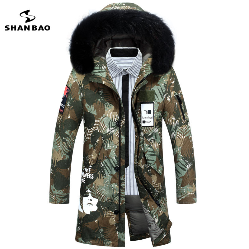 SHANBAO brand men's long camouflage   down   jacket 2018 Russian winter thick warm fur fur collar hooded white duck   down     coat