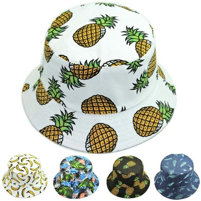 60dce26afbb ... greece reversible bucket hat men pineapple banana spring fall canvas  cotton panama sun hat for women