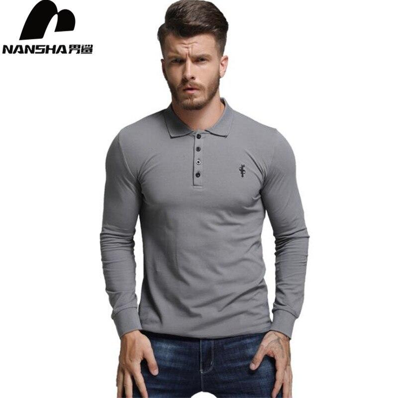 NANSHA 2018 High Quality Tops&Tees Men's Polo Shirts Business Fashion Autumn Slim Fit Style Long Sleeve Polo Shirt Men