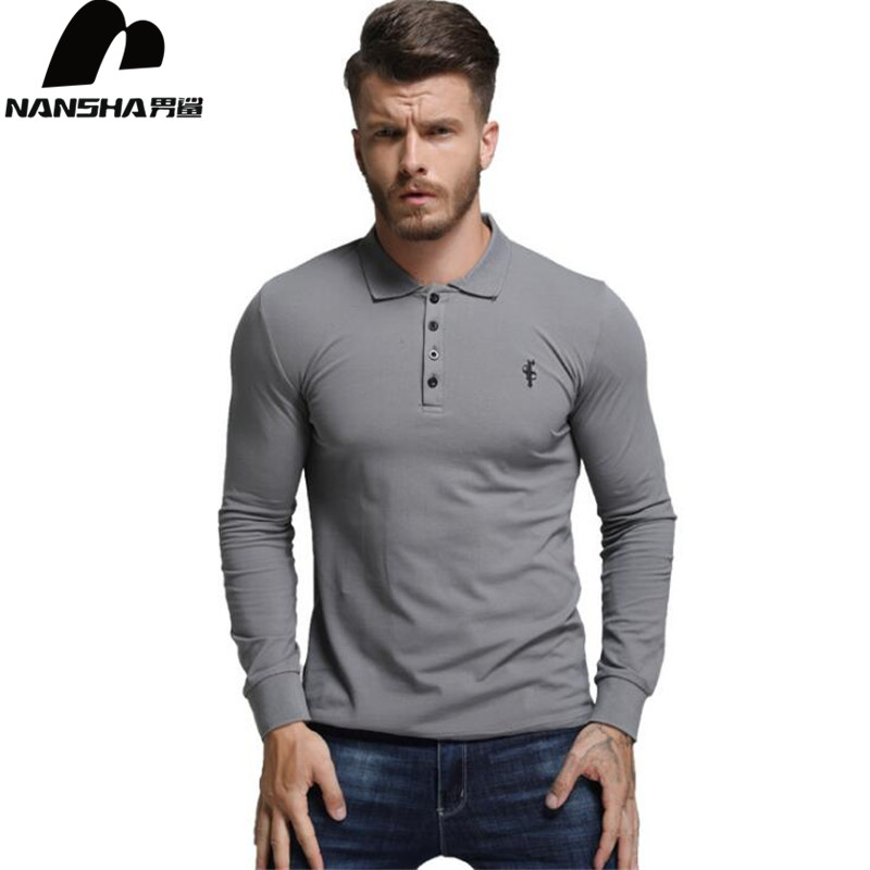 NANSHA 2018 High Quality Tops&Tees Men's   Polo   Shirts Business Fashion Autumn Slim Fit Style Long Sleeve   Polo   Shirt Men