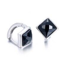 100% 925 sterling silver fashion black crystal women gift ladies`stud earrings jewelry birthday wholesale female cheap
