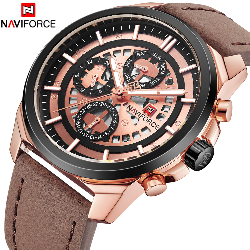 все цены на NAVIFORCE TOP Luxury Brand Men Fashion Sports Watches Men's Quartz Date Clock Man Leather Military Wrist Watch Relogio Masculino
