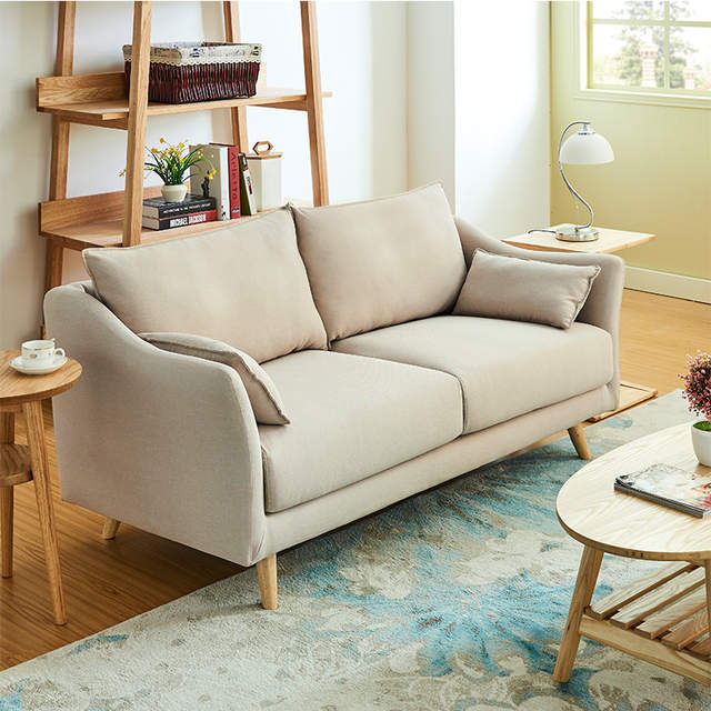 Simple European small living room, small apartment sofa, single person two  people, three rooms, Japanese style cloth sofa