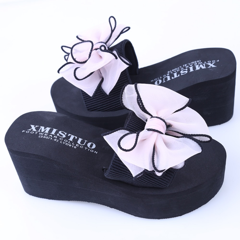 New Summer Sandals Female Slippers For Women Flip-Flop Sandals Non-Slip Bow Platform Indoor Flip Flops Slippers Sandals Hot Sale concise platform and bow design slippers for women