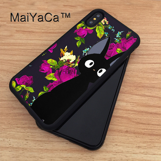 separation shoes a398d 4b57a US $4.36 5% OFF|MaiYaCa JIJI CAT ANIME TOTORO CUTE Soft TPU New Phone Cases  For Apple iphone X Case For iPhone X Case Rubber Cover Capa-in Fitted ...
