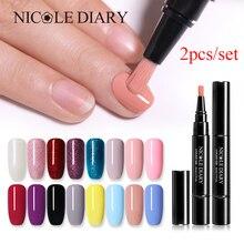 NICOLE DIARY 2 шт./лот 3 в 1 Гелевый лак для ногтей ручка блестящий гель для ногтей одношаговый лак Гибридный 60 цветов УФ-гель лак для ногтей инструмент для дизайна ногтей