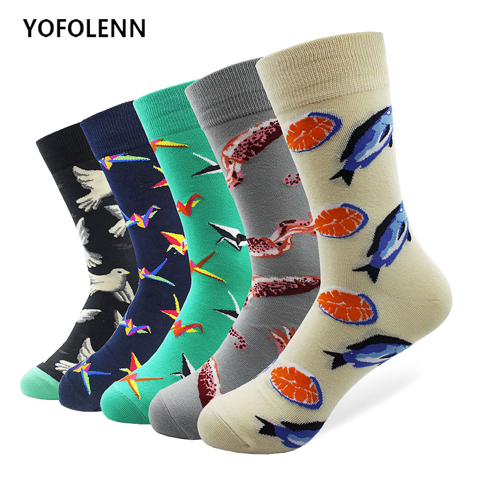 5 Pairs/Lot Long Colorful Cotton Socks Men with Fish & Origami Pigeon Pattern Happy Funny Cool Crazy Dress Socks Breathable
