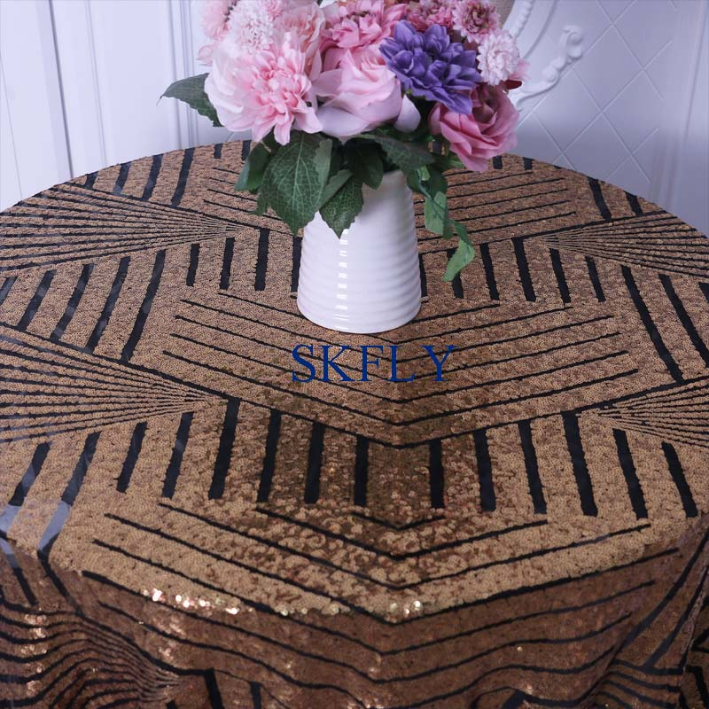 SQ026CD New 2019 Hot sale pattern Sequence metallic wedding gold sequin with black backtable cloth