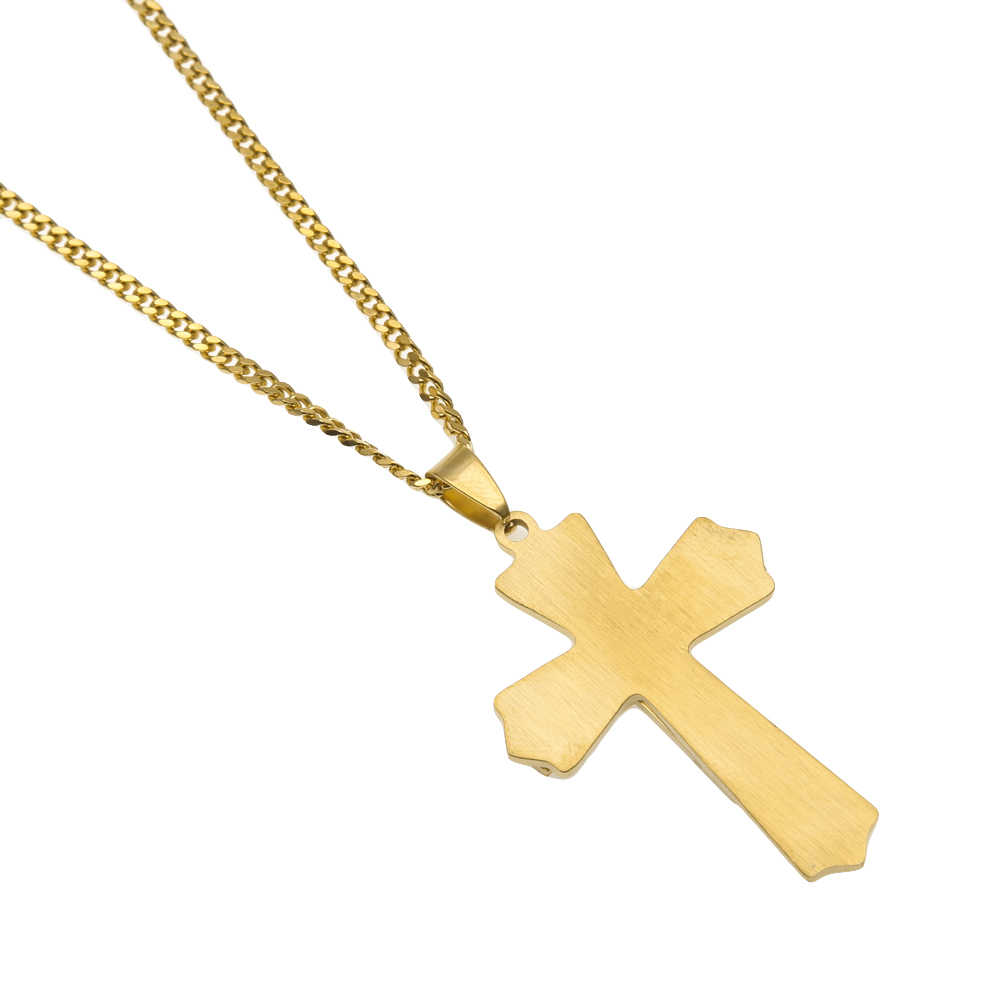 Top Quality Pendant Necklace Hip hop Smooth Cross Jesus Scriptures Shape Stainless Steel Lasting Gold Color For Men Jewelry