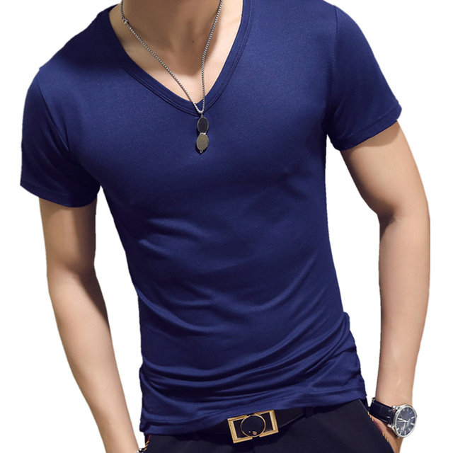 弾性 V ネック男性シャツメンズファッション半袖シャツフィットネスカジュアル男性シャツブランド服 Tシャツトップス 5XL
