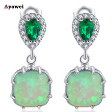 Ayowei Elegant Green Fire Opal Silver Stamped for Friend Birthday Gift Wondeful Drop Earring Fashion Jewelry OE656A