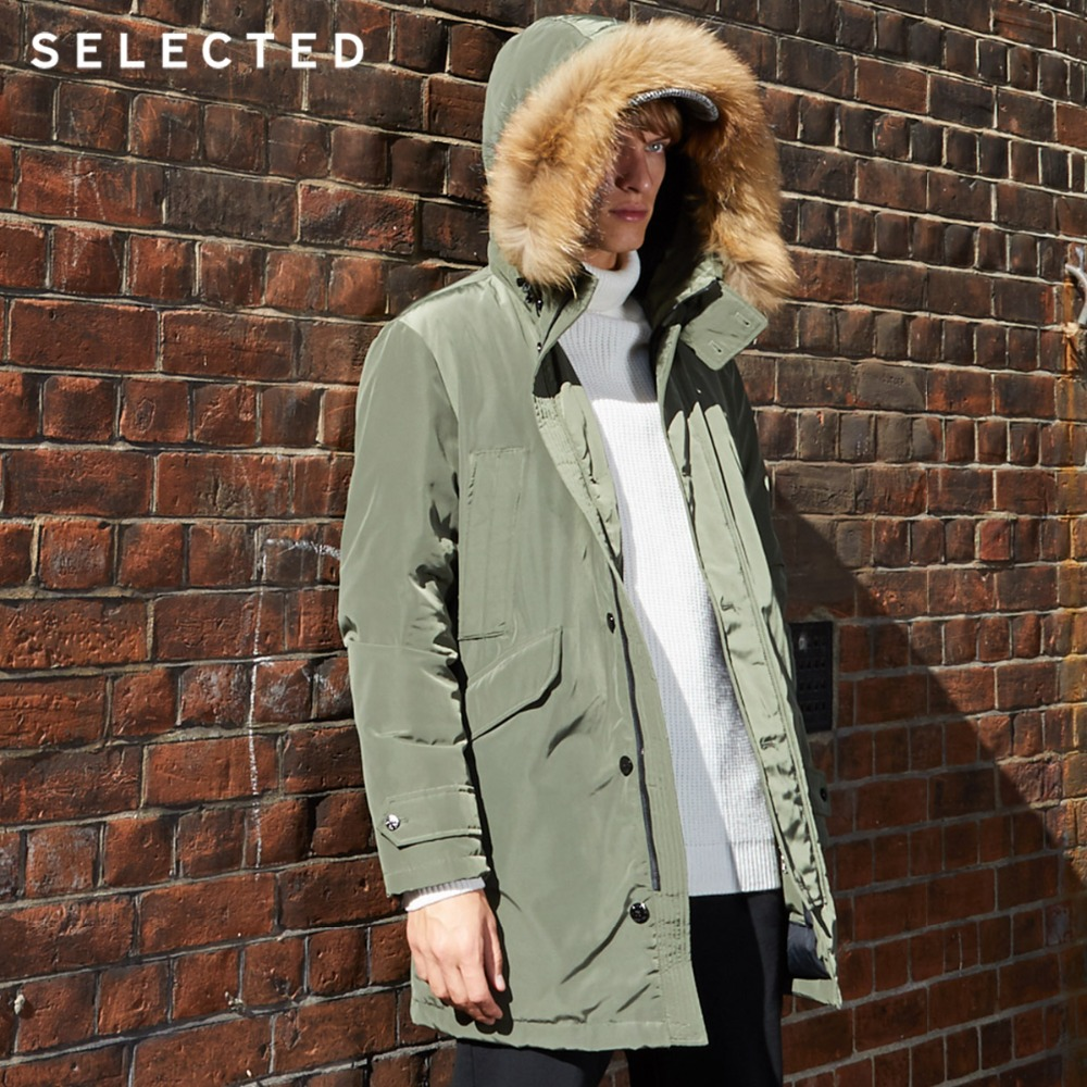 SELECTED Men's Winter Down Jacket Medium Style Hooded Down Clothes Warm Long Male Coat S | 418412516