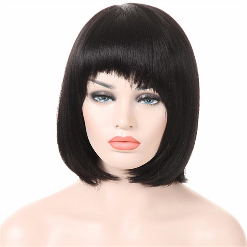 Feibin короткие парики с челкой для женщин синтетические черные прямые волосы полная голова 12 дюймов