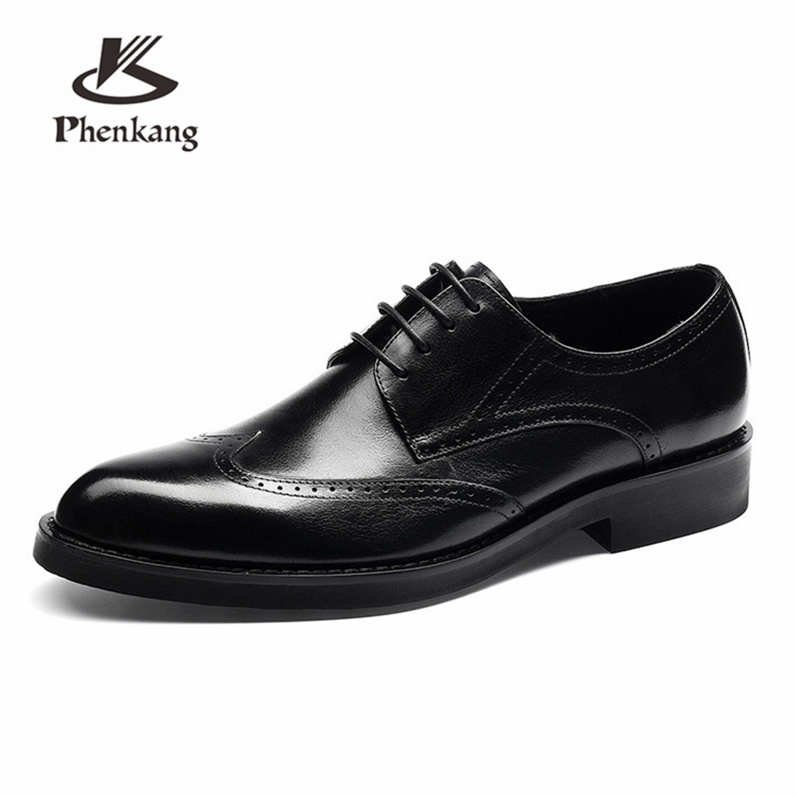 Men Genuine leather brogue Business Wedding banquet shoes casual flats shoes vintage handmade oxford shoes for men brown blackMen Genuine leather brogue Business Wedding banquet shoes casual flats shoes vintage handmade oxford shoes for men brown black