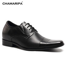 CHAMARIPA Increase Height 7cm/2.76 inch Elevator Shoes Increase Height Shoes Men Business Formal Black Shoes