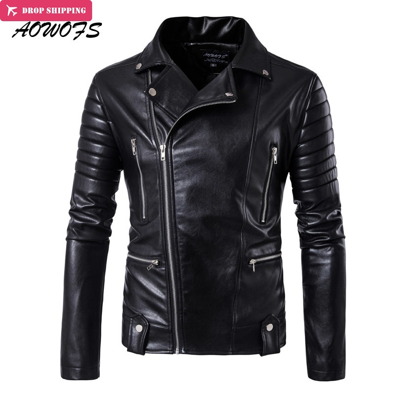 AOWOFS New Leather Jackets Men Slash Zipper Motorcycle Jackets Black Rider jaqueta de couro masculino 2017 fashion men clothing