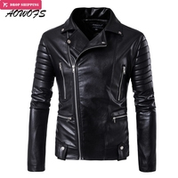AOWOFS New Leather Jackets Men Slash Zipper Motorcycle Jackets Black Rider jaqueta de couro masculino 2017 fashion men clothing