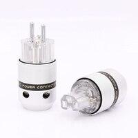 Audio Aluminum Rhodium Plated Schuko Power Plug Male Connector+IEC Female Plug