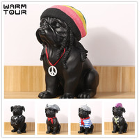 New Creative Personality French Bulldog Dog Octopus Hip Hop Simulation Resin Dog Ornaments Figurine Statue Artificial Best Gift