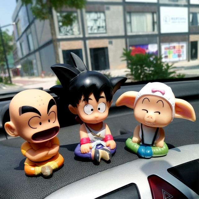 3 PC/Set Dragon Ball SON GOKU Kuririn Oolong Ornamento Do Carro Balançando A Cabeça Da Boneca Decoração Do Carro Bonito Japão Brinquedo Do Carro Dos Desenhos Animados acessórios