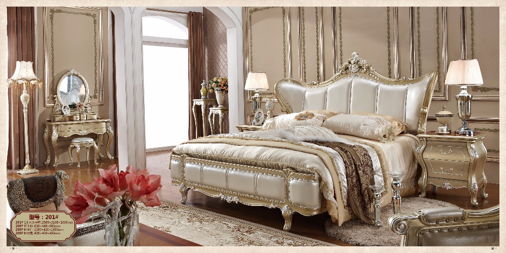 bed champagne silver luxury king bedroom furniture wood classic solid sets
