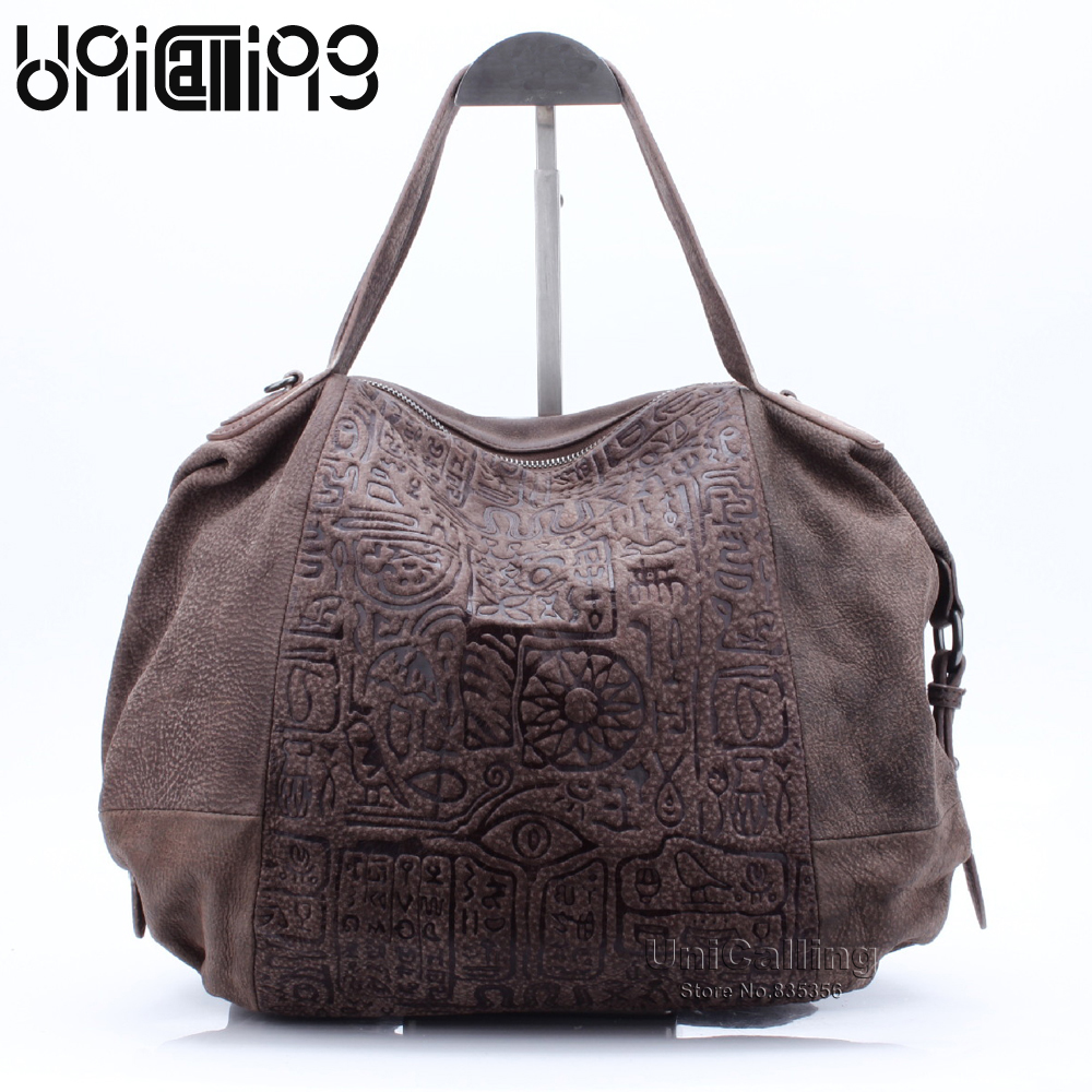 Large capacity women leather casual tote bag vintage hieroglyphic embossing women casual bag female shoulder handbag leather 2017 luxury brand women handbag oil wax leather vintage casual tote large capacity shoulder bag big ladies messenger bag bolsa