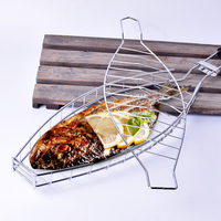 Stainless Steel Barbecue Fish Wire Mesh Non stick Tool Collapsible Shelf Wooden Handle Grill Meshes Roast Meat Grill Tools 1pcs