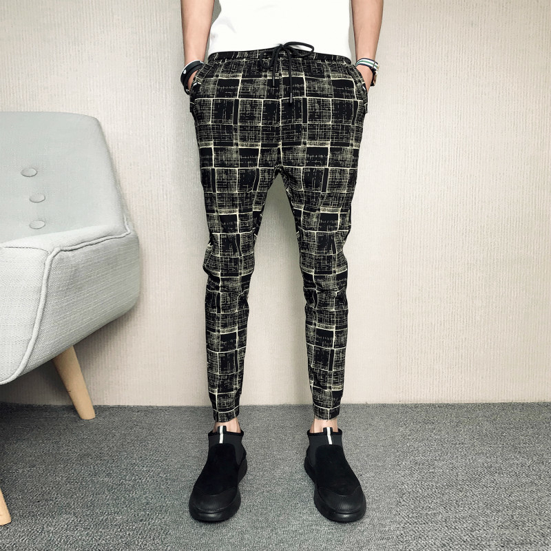 2018 Sociology Spirit Guy Lattice Leisure Time Tide Male Self-cultivation Pants Sensation Card Qi With A Feet streetwear new Hot