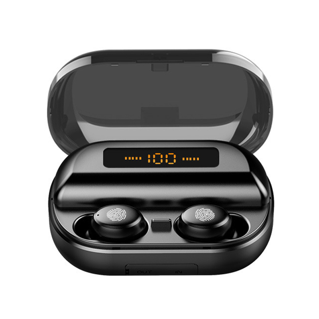 TWS Echte Draadloze Oortelefoon 5.0 Bluetooth Hoofdtelefoon 8D Stereo Waterdicht Touch Control Oordopjes met LED 4000 mAh Power Bank