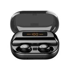 TWS Verdadeiro 8D do Fone de ouvido 5.0 Fones de Ouvido Bluetooth Estéreo Sem Fio Fones de Ouvido Controle de Toque À Prova D Água com LED Banco do Poder 4000 mAh