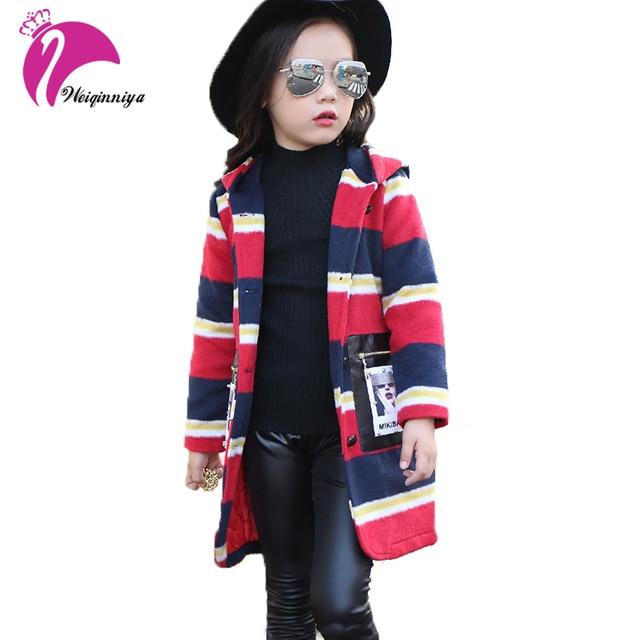 16a1679a2521 Winter Girls Long Jackets Striped Fashion Hooded Wool Blends Kids ...