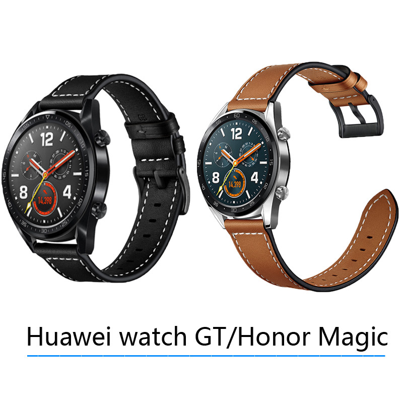 Sweet-Tempered Black Buckle Bands For Huawei Watch Gt/honor Magic Strap Leather Wristband Soft Replacement 22mm Band For Galaxy Watch 46mm Belt Home