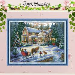 Terugkeer Van Kerst Geteld Kruissteek 11CT 14CT Kruissteek Groothandel Landschap Kruissteek Kits Borduren Handwerken-in Pakket van Huis & Tuin op