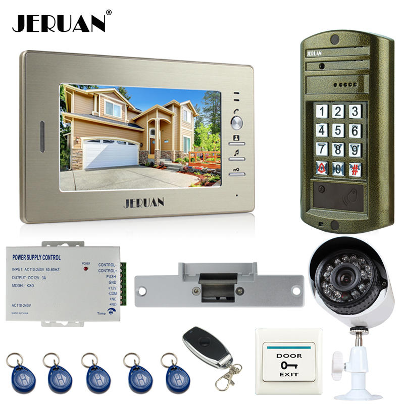 JERUAN NEW 7`` Video Intercom Door Phone System kit Metal panel waterproof password keypad HD Mini Camera +Security Camera 2V1