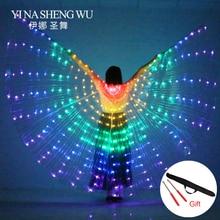 בטן ריקוד LED כנפי אור עד אגף תלבושות LED ריקוד כנפי קשת צבעים אבזרי במה עם מקל